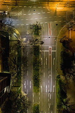 Aerial view empty city streets at night, Stuttgart, Baden-Wuerttemberg, Germany