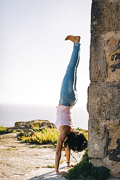 Woman doing handstand