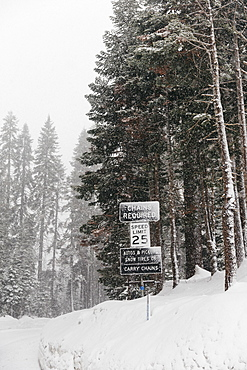Snow advisory signs, Yosemite National Park, Yosemite, California, United States