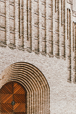 Brick facade of Grundtvigs Church, Copenhagen, Denmark