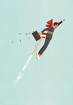 Businessman with rocket accelerating upwards
