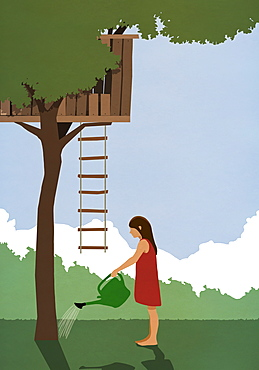 Girl watering tree below tree house
