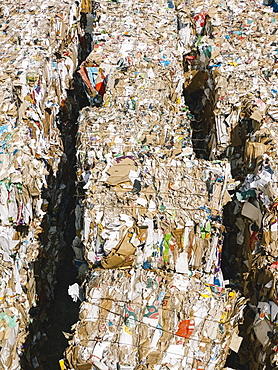 Bundles of recycled paper at recycling center