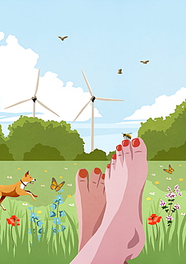 POV carefree barefoot woman relaxing in sunny, idyllic spring meadow with wind turbines