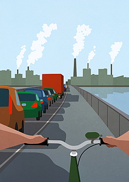 POV Bicycle in bike lane passing cars stuck in traffic jam on bridge