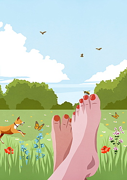 POV carefree barefoot woman relaxing in sunny, idyllic spring meadow