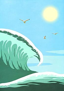 Seagulls flying over sunny ocean wave - 1177-4183