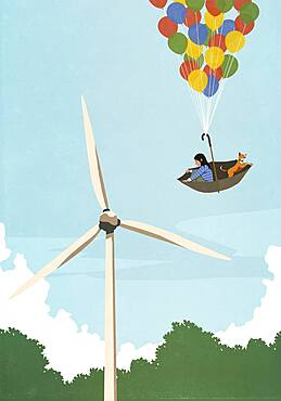 Girl and dog floating in umbrella balloon above wind turbine