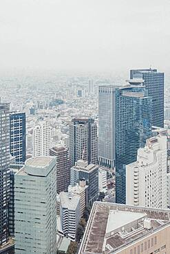 Aerial view highrise buildings and cityscape, Tokyo, Japan
