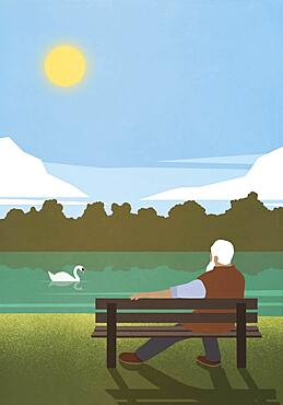 Senior man relaxing on sunny park bench watching swan on pond