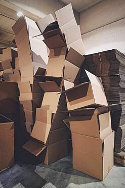 Stacked empty cardboard boxes