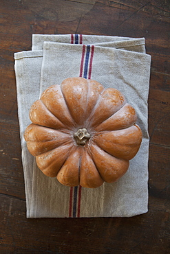Directly above shot of pumpkin on napkin