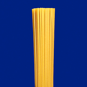 Close up uncooked spaghetti pasta on blue background