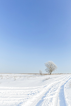 Tranquil view of snowy landscape against clear blue sky