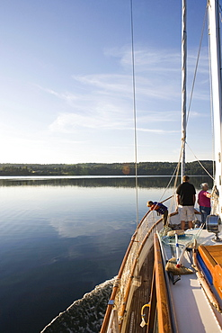A family on a sailing boat