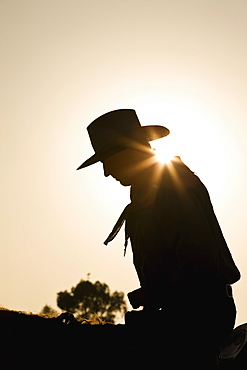 Silhouette of cowboy sitting on a horse