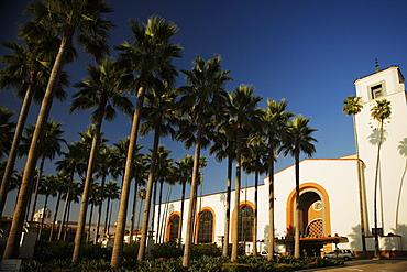 Palm trees outside a station, Union Station, Los Angeles, California, USA
