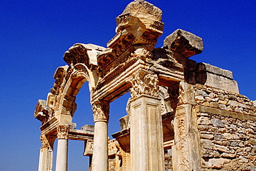 Low angle view of old ruins of a temple, Temple of Hadrian, Ephesus, Turkey