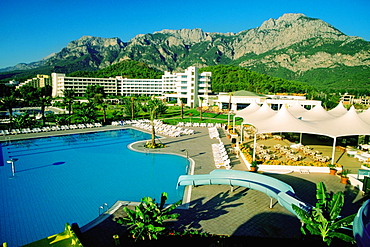 High angle view  of a swimming pool at a tourist resort, Mirage Park Hotel Resort, Antalya, Turkey