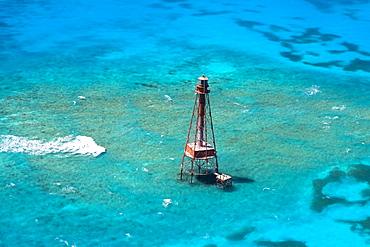 High angle view of a lighthouse in the sea, Florida Keys, Florida, USA