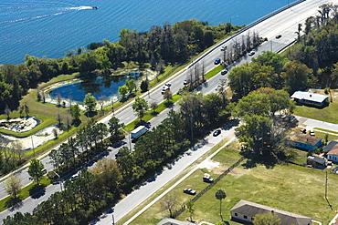 Aerial view of two lane highways, Orlando, Florida, USA