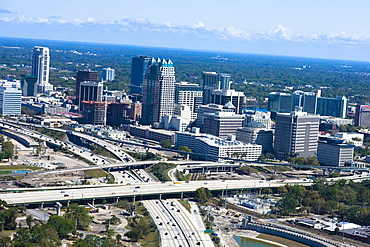 Aerial view of a multiple lane highway in a city, Interstate 4, Orlando, Florida, USA