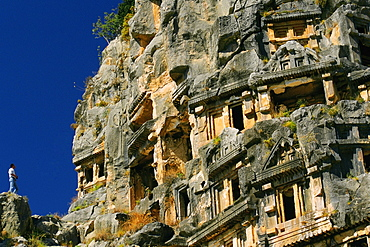 Low angle view of caves on rocks, Lycian Rock Tomb, Myra, Turkey