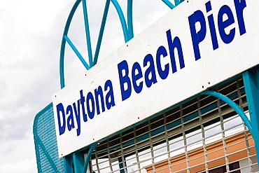 Low angle view of an information board, Daytona Beach, Florida, USA