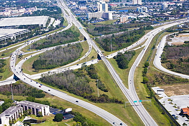 Aerial view of roads, Interstate 4, Orlando, Florida, USA