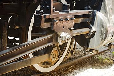 Close-up of a train wheel on a railroad track, Church Street Station, Orlando, Florida, USA