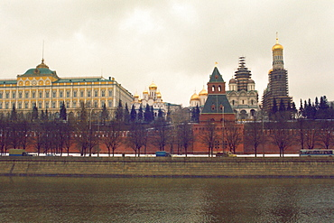 Buildings at the waterfront, Bell tower of Ivan The Great, Kremlin, Moscow, Russia