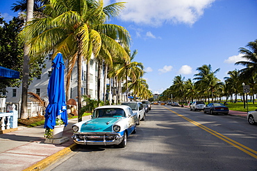 Cars parked on both sides of a road, South Beach, Miami Beach, Florida, USA