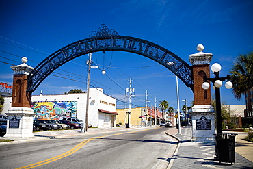 Archway over a road, Ybor City, Tampa, Florida, USA
