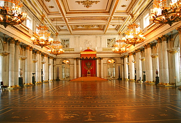 Interiors of a palace, St. George Hall, Winter Palace, Hermitage Museum, St. Petersburg, Russia
