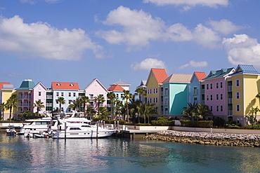 Tourboats moored at a pier, Paradise Island, Bahamas