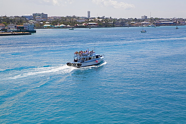 High angle view of a tourboat in the sea, Nassau, Bahamas