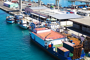 High angle view of a commercial dock, Potter's Cay, Nassau, Bahamas