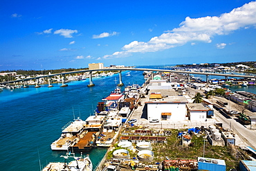 High angle view of cargo containers at a commercial dock, Potter's Cay, Nassau, Bahamas