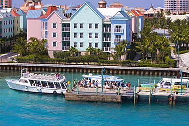 High angle view a group of people waiting to enter the tourboats, Paradise Island, Bahamas