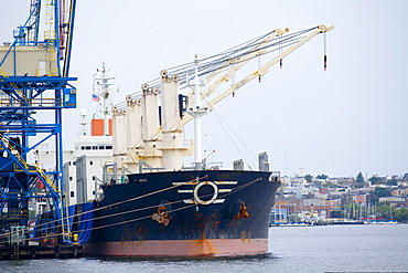 Industrial ship moored at a harbor, Inner Harbor, Baltimore, Maryland, USA