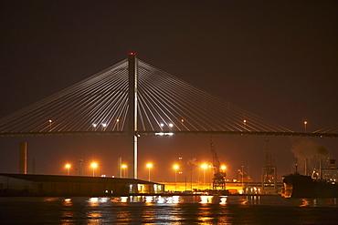 Suspension bridge lit up at night, Talmadge Bridge, Savannah River, Savannah, Georgia, USA