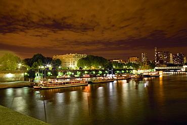 Tourboats docked at a port, Seine River, Paris, France