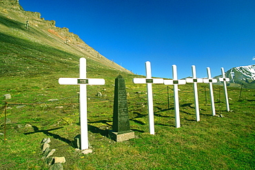 Row of graves on a landscape, Norway