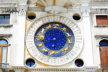 Low angle view of an astrological clock, St. Mark's Square, Venice, Italy