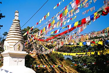 Low angle view of a temple, Swayambhunath, Katmandu, Nepal
