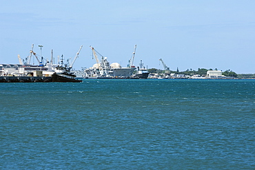 Military ships at a commercial dock, Pearl Harbor, Honolulu, Oahu, Hawaii Islands, USA