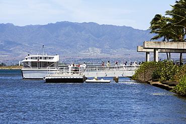 Tourboat in the sea, Pearl Harbor, Honolulu, Oahu, Hawaii Islands, USA