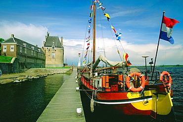 Sailboat moored at a dock, Veere, Netherlands