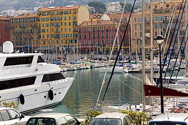 Boats moored at a harbor, Bassin Lympia, Nice, France