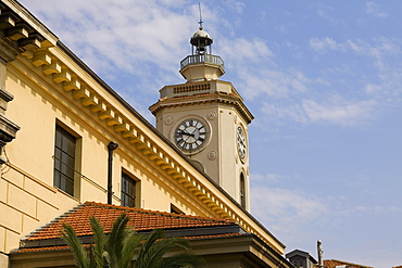 Low angle view of a clock tower of a building, Nice, France